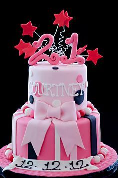 CreativeCustom made 21st Birthday Cake Pink Design birthday