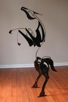 Metal Art Sculpture, Horse Sculpture, Animal Sculptures, Animal Art Projects, Metal Art Projects, Mobile Art, Steel Art, Scrap Metal Art, Junk Art