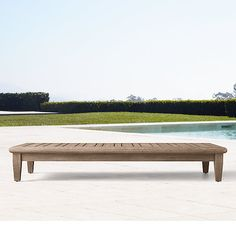 french beam weathered concrete & teak coffee table | m s d - b