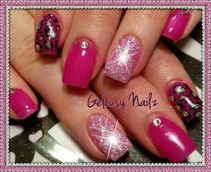 Pink Cheetah Nails, Pink Nails, Glitter Nails, Gel Nails, Acrylic Nails, Manicure, Pink Powder Nails, Cute Nails, Pretty Nails