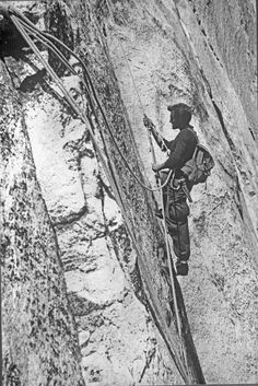 Warren Harding prusiking his fixed lines during the first ascent of the Nose of El Capitan. via Yosemite Climbing Association.