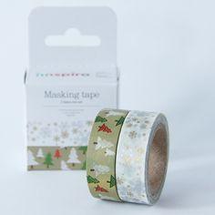 Set de dos washi tapes, cintas adhesivas de 15 mm de ancho y 10 m de largo. Estampados navideños. Marca Dailylike. Ideal para tus manualidades y packagings