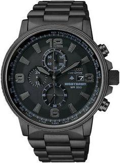 Men s Citizen Eco-Drive Blackout Nighthawk Chronograph Watch CA0295-58E 4ad71df016