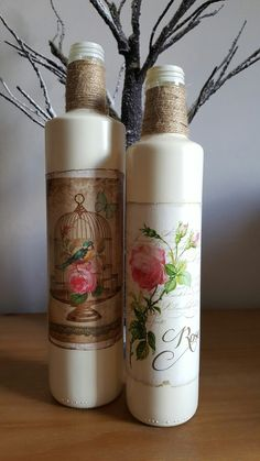 Decorative Jars Vintahe Tiffany & Co Style Decorative Bottles  Hand Decorated