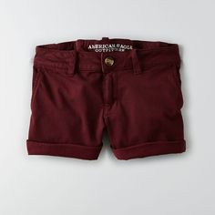 AEO Twill X Midi Shorts ($40) ❤ liked on Polyvore featuring shorts, bottoms, summer burgundy, fitted shorts, american eagle outfitters, low rise shorts, summer shorts and stretch shorts