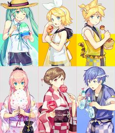 Miku, Rin, Len, Luka, Meiko and Kaito Vocaloid Kaito, Kaito Shion, Kagamine Rin And Len, Vocaloid Funny, Vocaloid Characters, Fanarts Anime, Rwby Anime, Chica Anime Manga, Anime Art