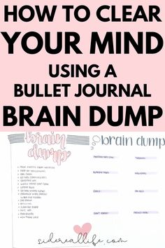 Everything you need to know about bullet journal brain dump spreads! Use these layouts to clear your mind Brain Dump Bullet Journal, Creating A Bullet Journal, Bullet Journal Hacks, Bullet Journal How To Start A, Bullet Journals, Bullet Journal Lettering Ideas, Bullet Journal Layout, Bullet Journal Inspiration, Journal Pages