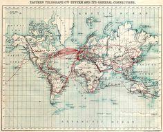 Mapa de conexiones telegráficas en 1901. Llama la atención la conectividad que ya existía en fecha tan temprana y el detalle del mapa.
