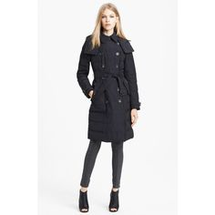 Women's Burberry Brit 'Allerdale' Belted Down Jacket ($890) ❤ liked on Polyvore featuring outerwear, jackets, black, belted trench coat, down jacket, double breasted jacket, trench jacket and belted jacket