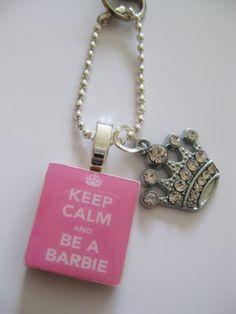 keep calm and be a barbie crystal crown keyring by dandandesigns, £4.35