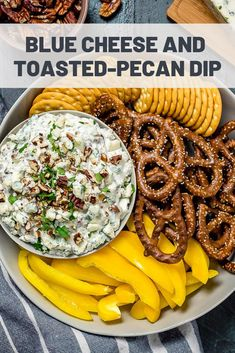Classic blue cheese dip gets a nutty twist with this quick and easy recipe, ideal for holiday entertaining or game-day parties. Best Appetizer Recipes, Best Appetizers, Dip Recipes, Baby Food Recipes, Peanut Butter Recipes, Toasted Pecans, Eat To Live, Food Baby, Serious Eats