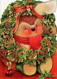 RARE - Lovely Hallmark Country Companions Hedgehog Christmas Card ~ For You Nan Vintage Christmas Cards, Retro Christmas, Xmas Cards, Christmas Art, Vintage Cards, Christmas Postcards, Christmas Scenes, Christmas Animals, Christmas Pictures