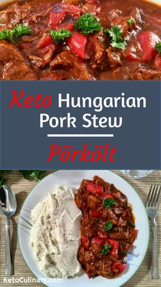 Keto Hungarian Pork Stew, also known as, Pörkölt is a delicious and hearty keto pork stew that is sure to satisfy. Blending seared pork, caramelized onions, peppers and Hungarian paprika results in the best keto stew you've ever had. It's definitely one o Pork Stew Meat, Pork Soup, Stew Meat Recipes, Goulash Recipes, Pork Recipes, Low Carb Recipes, Healthy Recipes, Bread Recipes, Filipino