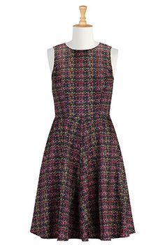 #eShakti #eShaktiFallFashion Graphic print fit and flare dress Hard to imagine, but I snagged this beauty with short sleeves and a shaped scoop neckline! Modest, professional and fun for fall!