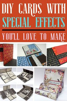 Make DIY cards with fun special effects that will make your cards unique! Craft Projects For Adults, Easy Craft Projects, Craft Tutorials, Step Cards, Cards Diy, Fancy Fold Cards, Folded Cards, Art And Craft Videos, Recycle Crafts