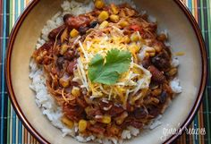 Crock Pot Chicken Taco Chili- This recipe is so quick, easy, and healthy. Our girls love it and I love that I can throw it in the crock pot and forget about it. We eat it over brown rice and top with cheese sour cream, and cilantro. Crock Pot Recipes, Slow Cooker Recipes, Chicken Recipes, Cooking Recipes, Chili Recipes, Crockpot Meals, Crockpot Chicken Chili, Freezer Meals, Crock Pots