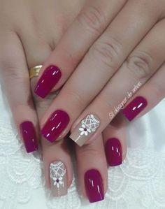 Ideas for nails art sencillo flores Love Nails, Fun Nails, Gel Nail Designs, Nails Design, Beautiful Nail Art, Winter Nails, Trendy Nails, Manicure And Pedicure, Beauty Nails