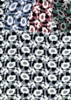 Abstract print on silk in 4 colorways. Unknown manufacturer. 1950s.  This print echoes 1950s furniture shapes.
