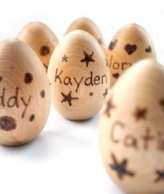 Personalized Easter Egg - Wooden Easter Eggs - Personalized Toy - Easter Basket Toys - Montessori Eggs - Waldorf Present