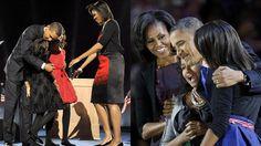 Molte cose sono cambiate nei quattro anni della presidenza Obama, ma la felicità si presenta con lo stesso volto.  Le figlie sono cresciute, il Presidente si è incanutito, Michelle è sorridente ma più composta rispetto al 2008. Ma nonostante queste minute diversità, la famiglia Obama è raggiante per la seconda vittoria alle elezioni americane.