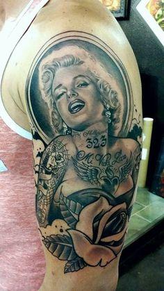Marilyn Monroe half sleeve black and gray tattoo
