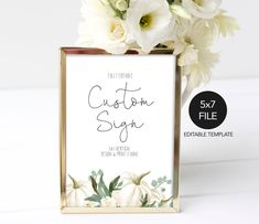 5X7 Fall Custom Sign Printable Template, Design your own Sign, Customizable Sign, White Pumpkin Sign, Wedding Signage, Sign Template,P11 Printable Invitations, Printables, Sign Templates, Wedding Signage, White Pumpkins, Party Signs, Design Your Own, Bridal Shower, Place Card Holders