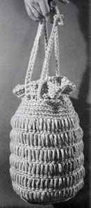 Lantern Bag Pattern - free crochet pattern from Knit & Crochet with Heavy Rug Yarn.   Star Book No. 191 -   The American Thread Company