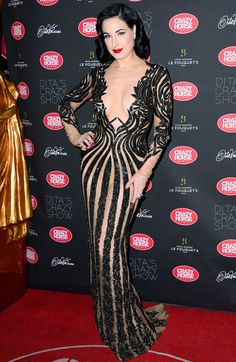 DITA VON TEESE in a beaded black Zuhair Murad gown for opening night of her  burlesque fb064b90e2e1