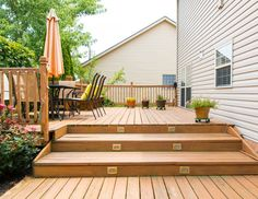 Before you incorporate any new deck decor, you should look at repairing whatever is damaged. If you've got a raised deck, don't ignore all the prospect of the patio beneath your deck! Decks may also be a fantastic add-on to an outdoor pool for your house. Cool Deck, Diy Deck, Deck Vs Patio, Diy Porch, Two Level Deck, Multi Level Decks, 2 Level Deck Ideas, Deck Cleaner, Deck Building Plans