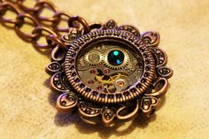 Steampunk Victorian Jewelry - Necklace - Watch Movement and Emerald Crystal - Antique copper $27.00