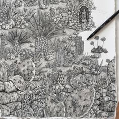 """Melita, Maleth"" in process - New Sprawling Ink Drawings by British artist Olivia Kemp Explore the Landscapes of Malta and Bavaria Illustration Pen And Ink, Fantasy Illustration, Malta, Frise Art, Image Sites, Art Diary, Art Inspiration Drawing, Colossal Art, Detail Art"
