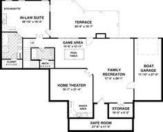 I love the general layout of this basement - would make boat storage or in-law suite area a work out room. Love the family rec room - want family room open to play/craft/game room - Also love the home theater with snack bar would be man cave - Definitely want at least a bathroom down there, full bath would be good for overnight guests.