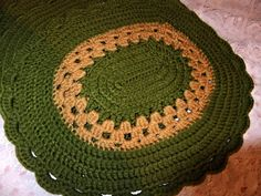 Olive Green and Gold Knitted Oval Placemats Set of 4 Handmade Good Weight by ThriftyMidge on Etsy