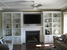 Ideas for contemporary fireplace with built-ins and TV nook. Love the simple design/style of the built-ins. Living Room Shelves, Living Room With Fireplace, New Living Room, Living Room Modern, Living Room Decor, Wall Shelves, Fireplace Built Ins, White Fireplace, Fireplace Ideas