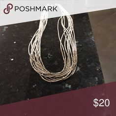 🎉 SALE 🎉 White and silver seed bead necklace White HOT seed bead long multi strand! Perfect for spring or summer! Never worn! Stephan & Co Jewelry Necklaces