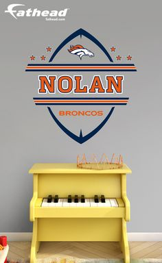 If you're looking to perfect a Broncos theme for your child's room or nursery, the Denver Broncos Personalized Name wall decal from Fathead is the All-Pro option. Like all Fathead wall graphics, our personalized name featuring the Denver Broncos logo provides an impressive decorating solution that is easier and cheaper than either paint or wallpaper. SHOP http://www.fathead.com/nfl/denver-broncos/denver-broncos-personalized-name-wall-decal/ DIY Kids Bedroom Decor | Custom Decals | Pell…