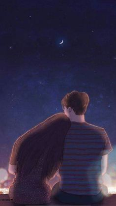 # cute # love romantic date under the moon? Love you to the moon and … - Valentine's Day Couple Amour Anime, Anime Love Couple, Cute Anime Couples, Anime Couples Hugging, Love Cartoon Couple, Manga Couple, Art Anime Fille, Anime Art Girl, Anime Girls