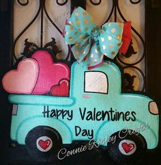 day decorations wreath Valentine's Day burlap door hanger, Valentine's Vintage truck door hanger filled with hearts, Valentine Wreath, aqua truck Valentine Day Wreaths, Valentines Day Decorations, Valentine Day Crafts, Happy Valentines Day, Valentine Ideas, Valentine Stuff, Vintage Valentines, Truck Crafts, Painting Burlap
