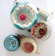 Five Vintage Christmas Ornaments Mercury Glass by NeatoKeen, $24.00 - aka Kugel tree ornaments