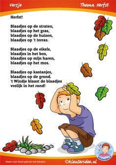Blaadjes, versje voor kleuters , thema herfst, juf Petra van kleuteridee, Preschool autumn , free printable.