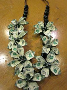 Kukui Nut Graduation Money Lei via Etsy Money Lei, Money Origami, Homemade Gifts, Diy Gifts, Creative Money Gifts, Money Gifting, Graduation Leis, Dollar Bill Origami, Graduation Gifts