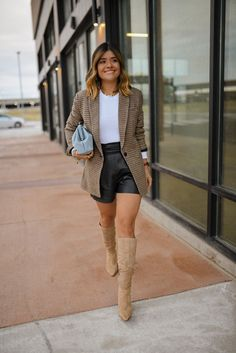 Fall's Checklist: Faux Leather Shorts | Fall Outfit Ideas | How to Style Plaid Blazer | Express plaid blazer | Checked Blazer Outfit Ideas | Abercrombie ribbed bodysuit | Fall Wardrobe Staples | Fall Boots Outfit | Vince Camuto Derika leather boots | Fall Fashion Aesthetic | Chic Outfit Ideas | Fall Essentials | Fashion Inspiration | Chic Fashion Blogger | Chic Talk #fallstyle #chicfashion