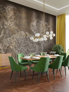Get inspired by these modern dining room design ideas! Dining Room Lamps, Dining Room Wallpaper, Luxury Dining Room, Dining Room Design, Living Room Decor, Dining Chairs, Accent Wallpaper, Wallpaper Ideas, Green Dining Room