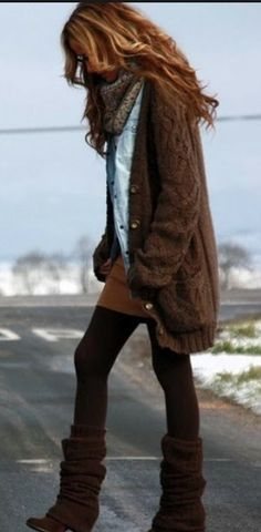 Layers and boots, warm and cozy.