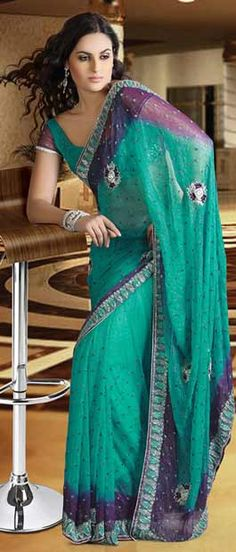 Deep Sea #Green and Purple Shimmer Chiffon #Saree With Blouse @ $99.96 | Shop Here: http://www.utsavfashion.com/store/sarees-large.aspx?icode=sam12