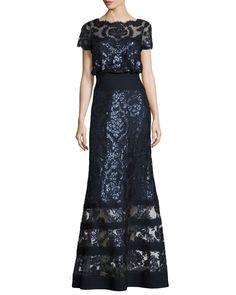 b64e6332b83 Shop for Tadashi Shoji Tiered Illusion Gown at Dillards.com. Visit ...
