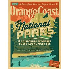 This Orange Coast cover pays homage to the travel poster style with some of the tastiest type and vibrant colors.  Would love a print of this one.  #typehunter #vintagecover #fantastictypography