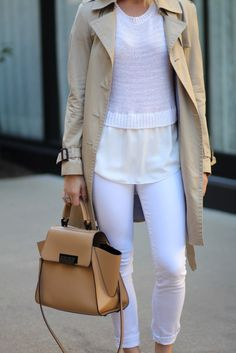 A Casual Office Look | Office look | All white outfit | How to wear a trench coat |Uptown with Elly Brown