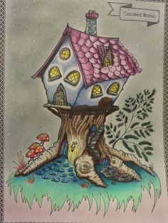 3.- The Crooked House. The night falls on the Lands of Uchana and the inhabitants of The Crooked House rest by the fireplace. Although there is an imaginary moon out of sight, the shadows should be improved. 2.- More intro pages. I like being able to color them :) I used my #Prismacolor and some #Lidl Pastels for the background. #LandsofUchanda #Uchana #Coloring #ColoringBook