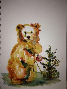 "Watercolor Painting ""Christmas Bear Decorating"" 5.75"" x 8.5"": Original Watercolor Art Painted on Paper"